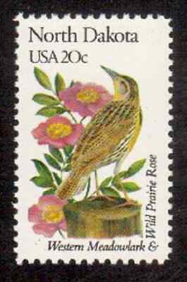 Scott #1986.. 20 Cent...State Birds & Flowers/North Dakota..,15 Stamps