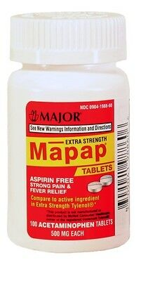 Major Mapap Extra Strength 500 mg 100 CT Aspirin Free Pain Reliever