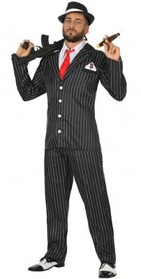 Kostüm Herren Gangster Schwarz XL Kostüm Al Capone Mafia Mafiosi Neu - Billig Gangster Kostüm
