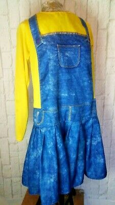 Womens Large MINIONS DESPICABLE ME Dress Costume PLEATED SKIRT Faux Overalls ()