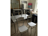 4 White and Chrome Dining Chairs (Dining Table NOT included)