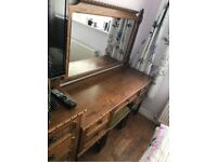 Antique dark oak Bedroom furniture,dressing table,chest of drawers and 2 bedside cabinets.