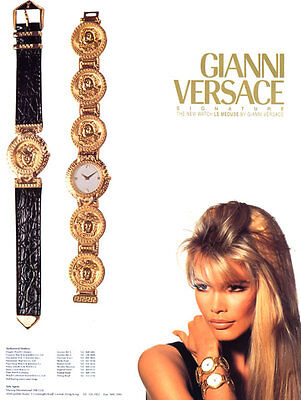 1993 Versace Signatures Irving Penn Claudia Schiffer Watches Magazine Ad