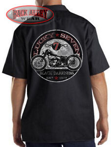 Lucky 7 Black Darkness Mechanics Dickies Biker Work Shirt