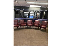 5 x Burgundy red faux leather chairs with wooden legs easy clean loads of life