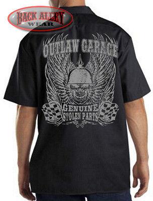 OUTLAW GARAGE Mechanics Work Shirt Biker Skull & Wings ~ Stolen Parts Chop Shop