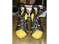 Ladies black wedge sandals