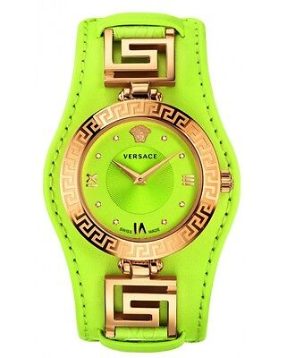 Versace Womens Vla070014 V Signature Diamond Gold Ip Yellow Lime Leather Watch