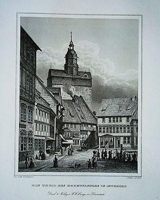 Osterrode Harz Niedersachsen Markt  Stahlstich 1840