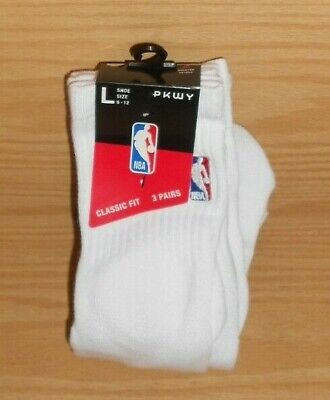 3 PAIRS NEW PKWY White NBA Logo Man Size L Large 6-12 Quarter Socks