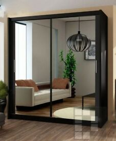 WOW AMAZING DISCOUNT! Modern Berlin Full Mirror Two Door Sliding Wardrobe with Shelves and Rails