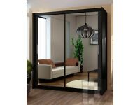 SUPREME QUALITY GUARANTEED! BRAND NEW CHICAGO Mirror 2 Door Sliding Wardrobe in Black Walnut White
