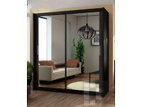 -- BLACK WALNUT AND WHITE-- New Berlin Full Mirror 2 Door Sliding Wardrobe in Black Walnut White
