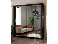 "❤Superb Finish❤ Brand New Berlin Full Mirror 2 Door Sliding Wardrobe with Shelves, rails ""4 size"""