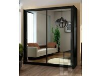 TOP SELLING - 70% SALE - Brand New Berlin Full Mirror 2 Door Sliding Wardrobe in Black&White