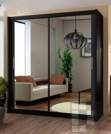 SAME DAY FAST DELIVERY-- Brand New Berlin Full Mirror 2 Door Sliding Wardrobe in Black&White