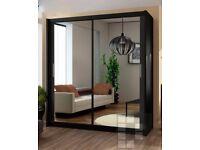 ❤🔥💥❤BLACK WALNUT & WHITE❤🔥Brand New Berlin Full Mirror 2 Door Sliding Wardrobe w Shelves, Hanging