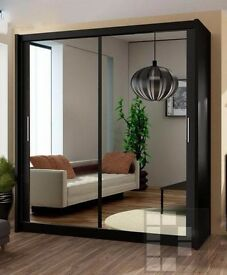 ****BLACK WHITE AND WALNUT FINISH** NEW CHICAGO 2 DOOR SLIDING WARDROBE WITH FULLY MIRRORED