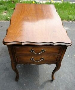Vintage solid wooden queen anne legs side table with drawer London Ontario image 3