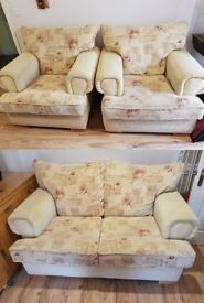 Quality 3 Pc Country Style Suite, 2 Chairs and 1 two seater sofa, Very Comfortable