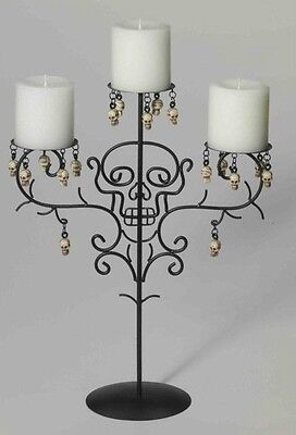 Halloween Candelabra Skull Candle Holder 3 Candles Metal Black Steel Frame NEW - Skull Candelabra