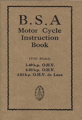 BSA Sloper 1930 3.49 hp OHV 4.93 hp  OHV Reprinted Instruction Manual