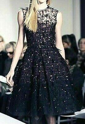 Oscar de la Renta Feather Sequin Embroidered Embellished Tulle Cocktail Dress 10