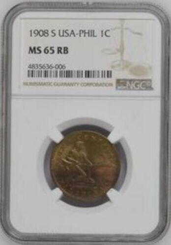 1908-S U.S. Philippines 1 Centavo Bronze Coin NGC MS-65 Gem BU!