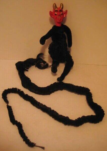 "Old Antique German Halloween Chenille Body & Compo Head Devil Krampus w/18"" tail"