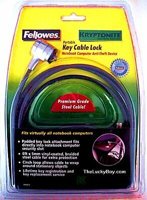 BEST LAPTOP PORTABLE CABLE LOCK * KRYPTONITE / FELLOWES * STRONG * LOW PRICE (Best Laptop Cable Lock)