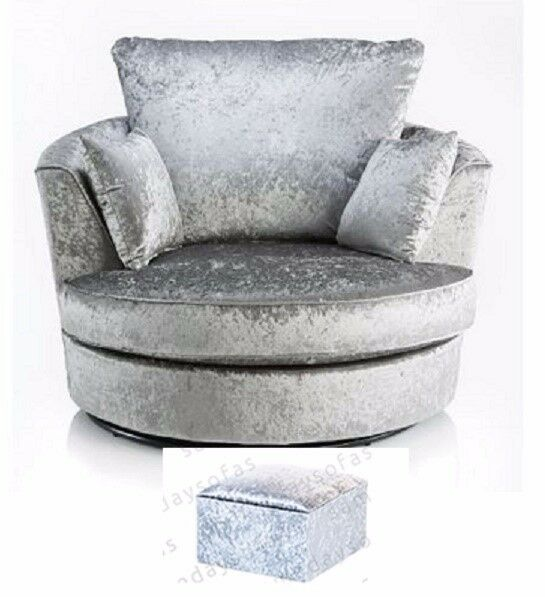CRUSHED VELVET SWIVEL CHAIR IN SILVER + FREE FOOTSTOOL