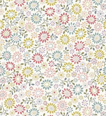 WHITE ALL AROUND DAISY BY LEWIS & IRENE - COTTON FABRIC FQ'S