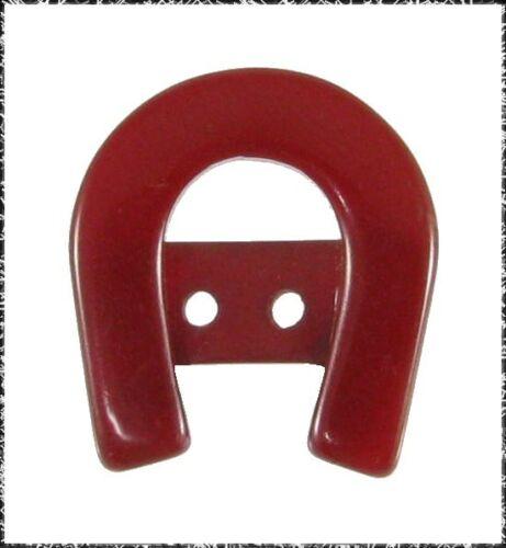 Vintage Red Bakelite Horseshoe Button