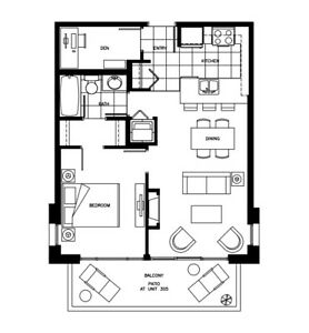 One Bedroom & Den @ OMA 1; Gilmore Station - 650ft2