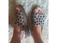 Leopard print Clarks sandals 6