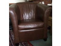 Dark brown bucket chair faux leather