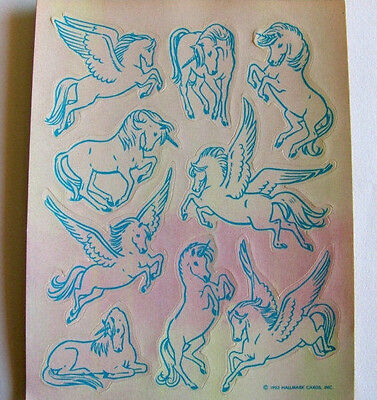 Unicorn Pegasus Rare Vintage 80's Hallmark Pearly Sticker Sheet MOP Opal Pearl