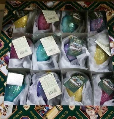12 ASSORTED SHIMMERING EASTER EGG OLD WORLD CHRISTMAS GLASS ORNAMENTS NWT 36159 ()
