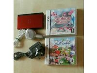 DS Lite Metalic Red 2 chargers & 2 games