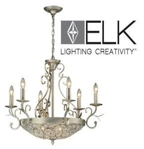 NEW ELK 9 LIGHT CHANDELIER 11696/6+3 195889154 LIGHTING FIXTURE ANDALUSIA AGED SILVER