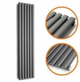 ANTHRACITE VERTICAL SINGLE OVAL TUBED RADIATOR 1780 X 354MM, New, Boxed..!