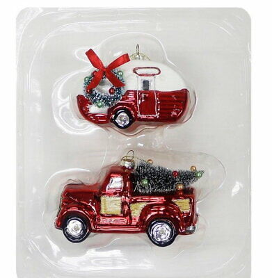 Wondershop Red Truck with Christmas Tree & Camper Glass Ornament Set 2018