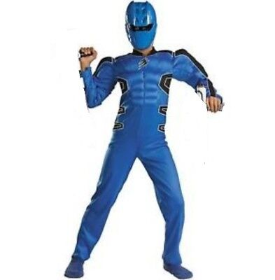 Power Rangers Jungle Fury BLUE Ranger Muscle Costume + Mask Boy's size 10-12 New (Power Rangers Jungle Fury Mask)