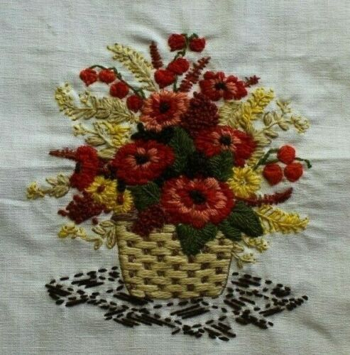 Red Yellow Wheat Flower Bouquet Crewel Embroidery Completed Finished