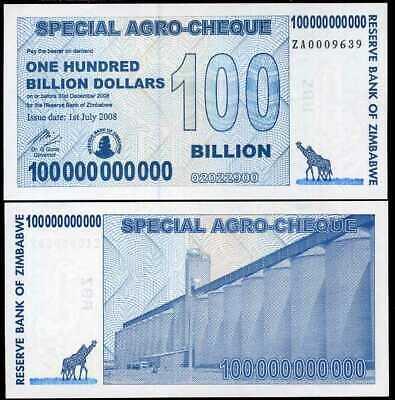 Zimbabwe UNC /> scarce ZA replacement 100 billion 2008 P-64r
