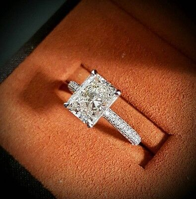 1.60ct Natural Radiant 3-Row Micro Pave Diamond Engagement Ring - GIA