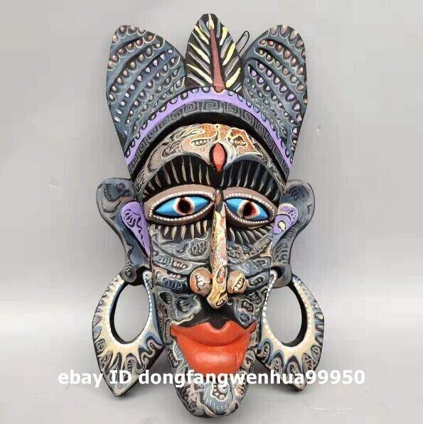 Chinese wood handpainted Native American aboriginal people mask facial makeup