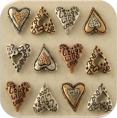 2 Hole Beads Mini Hearts