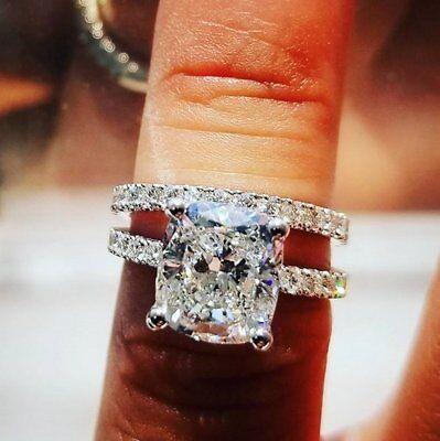 3.35 Ct Cushion Cut Diamond Engagement Ring Round Pave H,VS2 GIA Platinum 4