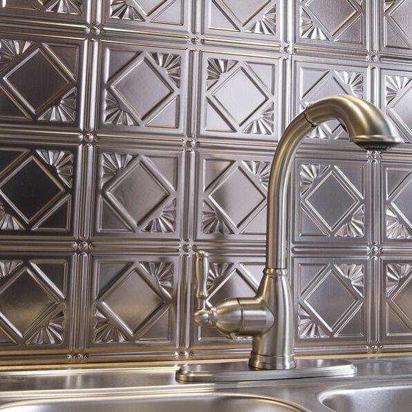 Kitchen Backsplash Silver Decorative Vinyl Panel Wall Tiles
